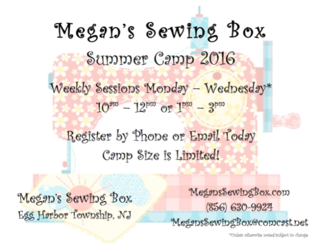 Megan's Sewing Box Summer Camp Flyer